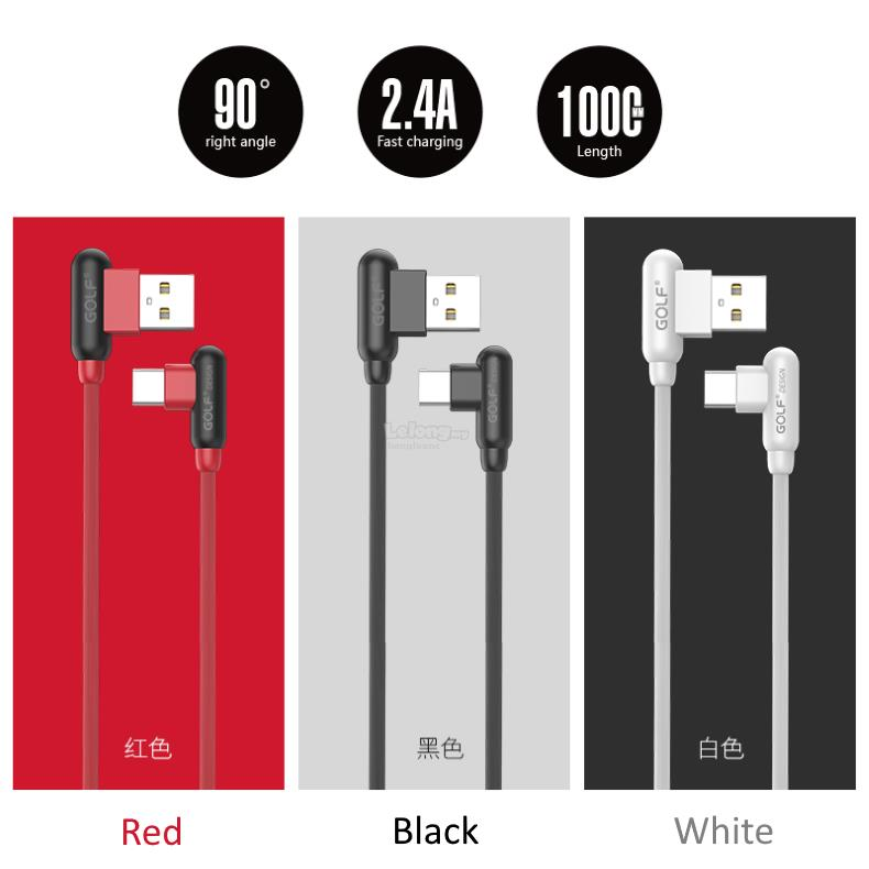 Golf Right Angle 2.4A Fast Charge & Data Sync Type-C,Micro USB Cable