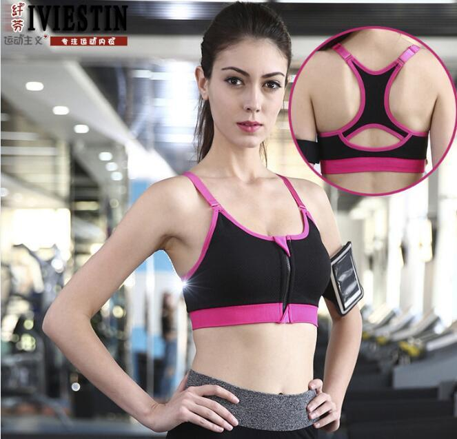 Good Quality Sport Gym Yoga Fitness Zipper Sport Bra (SB18)