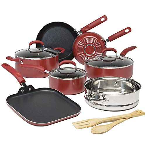 Goodful Premium Non-Stick Cookware Set, Dishwasher Safe Pots and Pans, Diamond