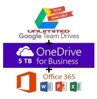 Google Team Drive Unlimited + OneDrive 5TB + Office 365 for 5 Devices