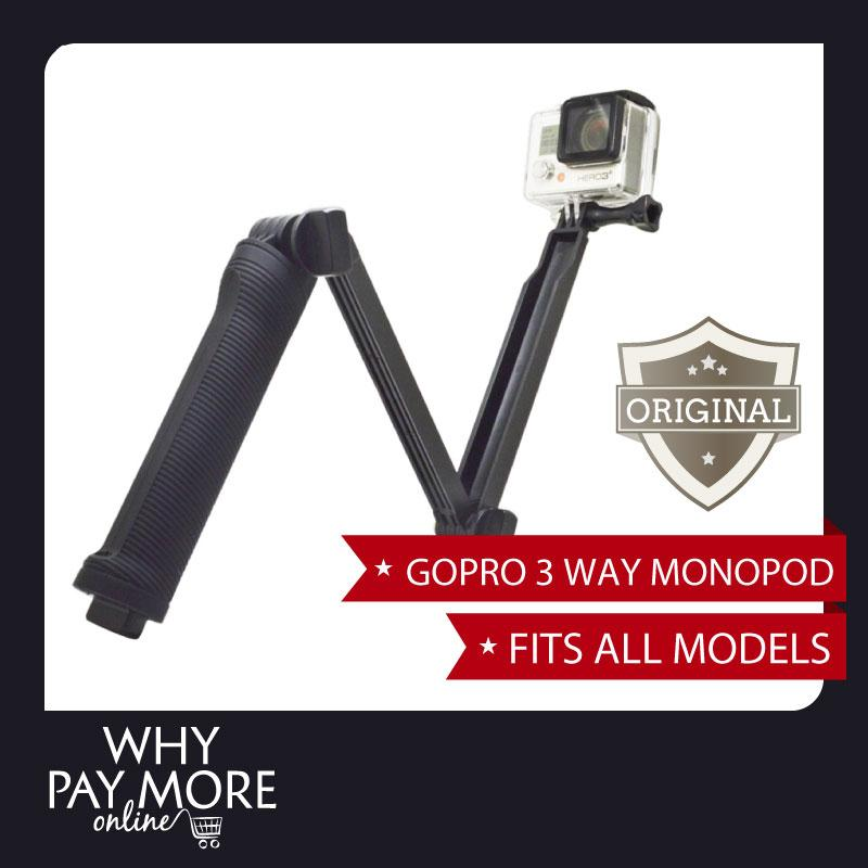 GoPro 3 Way Monopod Extension Arm Tripod Hero 4 3+ 2 Xiaomi Yi SJ4000