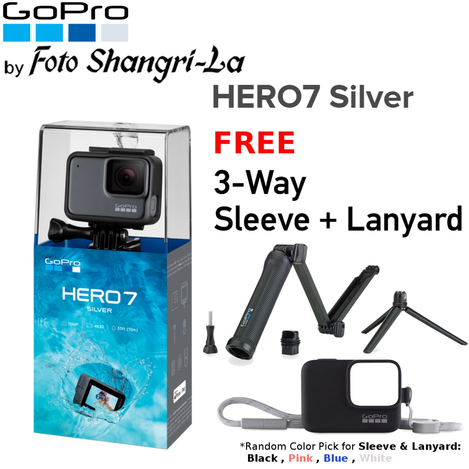 GoPro Hero 7 Silver / Hero7 4K Video Action Camera With 3-Way + Sleeve  & Lany
