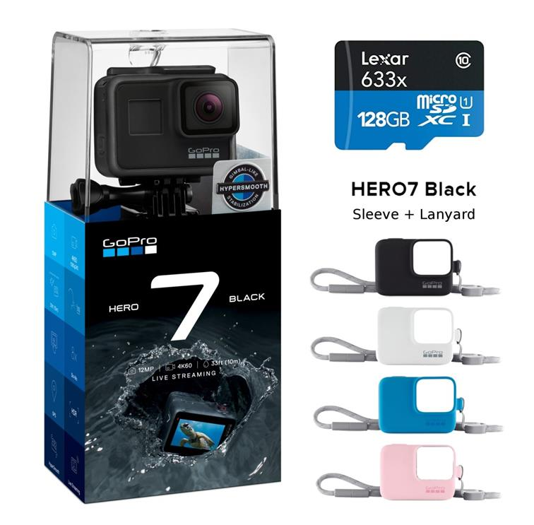 be584394a84 GoPro HERO7 Black Action Camera Hero 7 +128GB 633x Card + GoPro Sleeve. ‹ ›