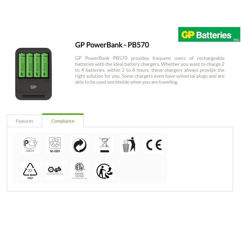 GP PB570 Battery Charger with AA ReCyko+ Pro 2000mAh Rechargeable Batt