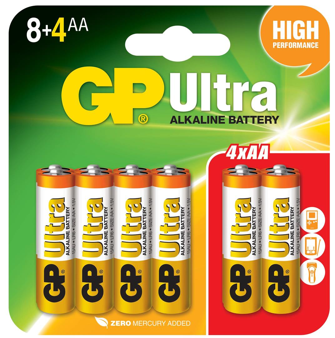 GP ULTRA ALKALINE 15AU 8+4PCSAA BATTERY