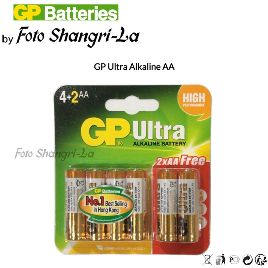 GP Ultra Alkaline Battery AA (6 x AA Battery) High Performance LR6 Size AA 1.5
