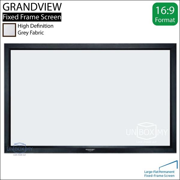 "GRANDVIEW Large Flat Series Fixed Frame Screen 16:9 106""D Grey"