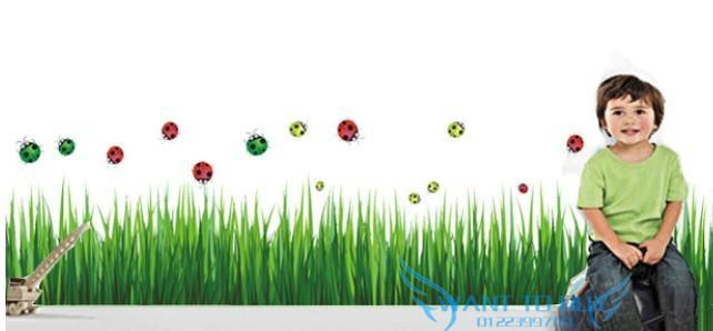 Grass blue measure removable show window decor skirting wall stickers
