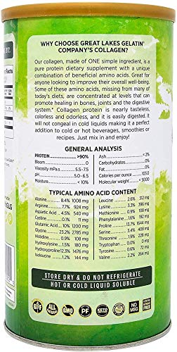 Great Lakes Gelatin, 4 Pk Collagen Hydrolysate 16 - Ounce Cans and by The Cup