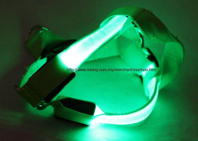 Green LED Pet Dog Neck Chest Collar Harness Strap Buckle Lock Size S