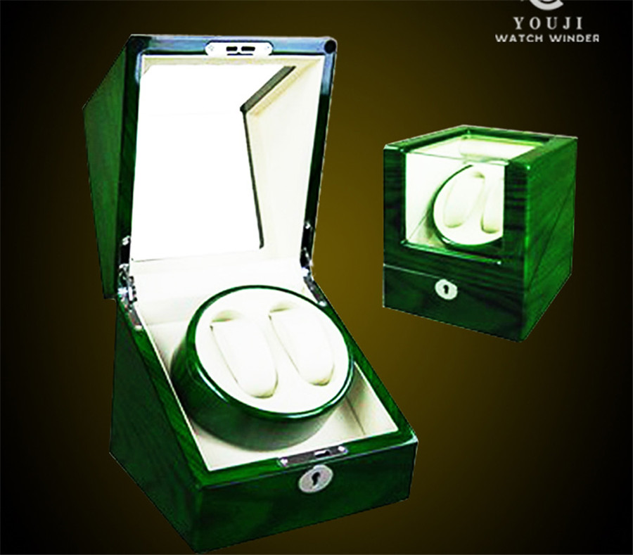 Green Luxury Wooden Automatic Dual Double Watch Winder