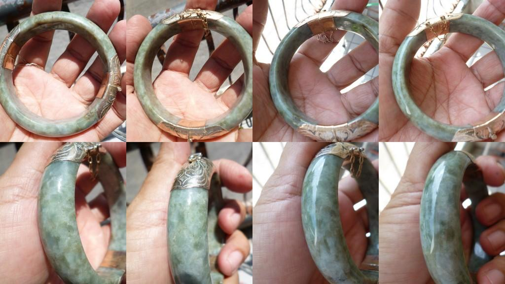GREEN NEPHRITE BURMESE JADE  BANGLE ADJTBLE