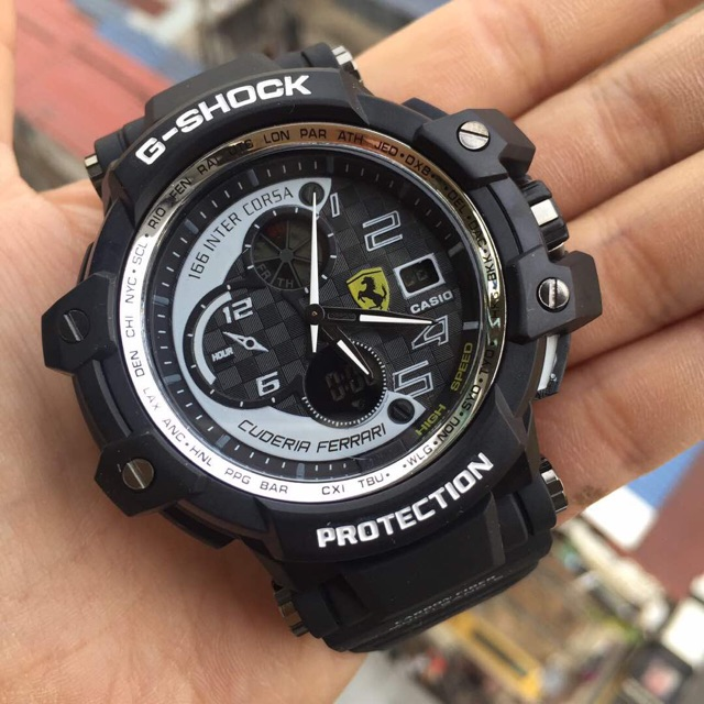 Gshock ferrari men watch battery buckle casio with steel cover