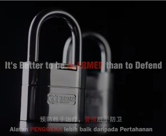 GT Benz 60mm Single Alarm Padlock