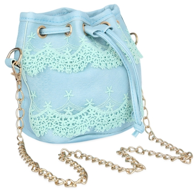 Guapabien Chic Pure Color Diagonal Chain Strap Drawstring Design Shoul..