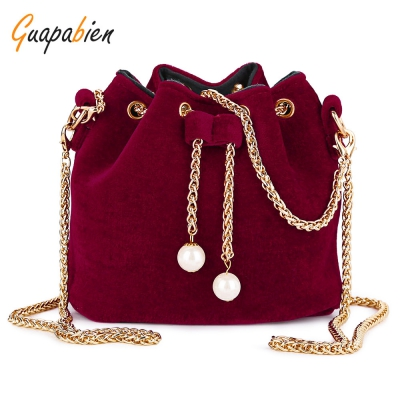 Guapabien Metal Chain Drawstring Shoulder Bag Evening Party Tote Bags ..