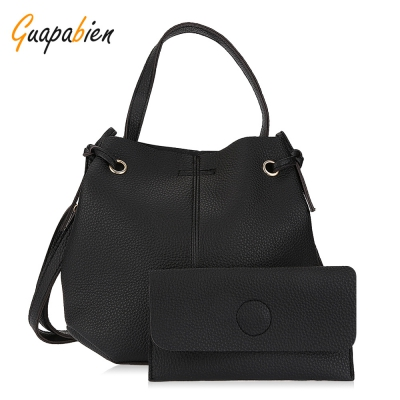 Guapabien Solid Color Shoulder Tote Bucket Bag Clutch Pocket