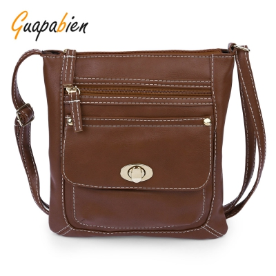Guapabien Solid Color Turn Lock Zipper Vertical Dual Purposes Shoulder..
