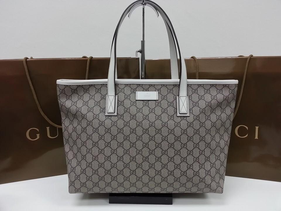 gucci tote. gucci gg supreme canvas shopper tote with white leather trim