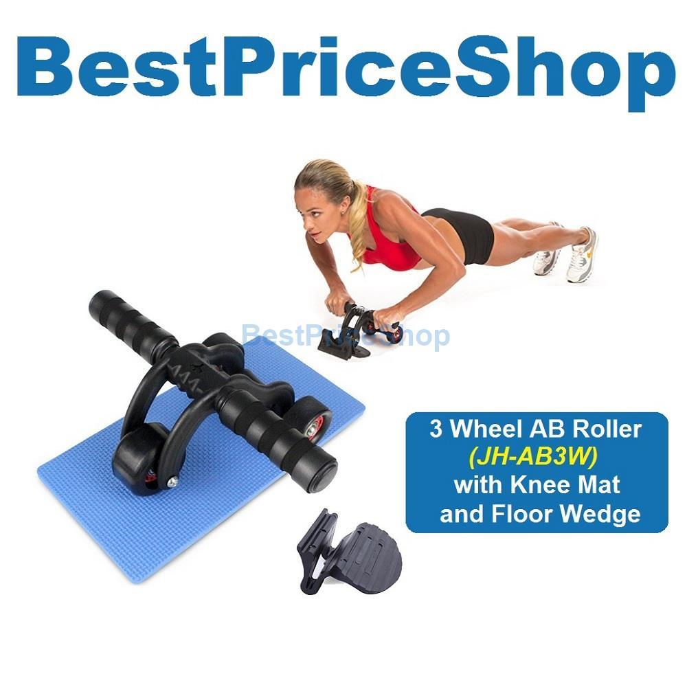 GYM Grade 3 Wheel Ab Roller 6 Packs Abdominal Workout Fitness Stopper