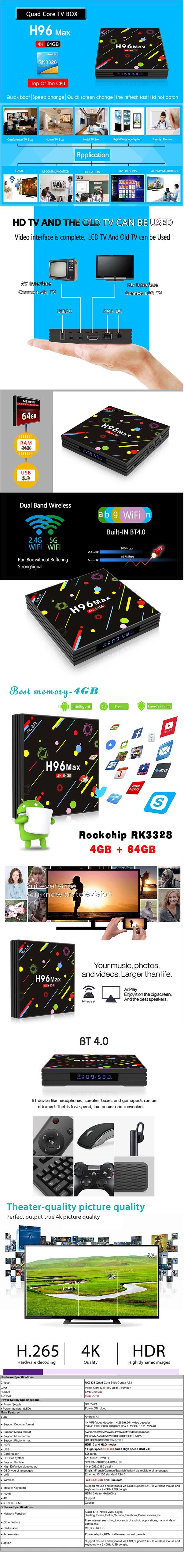 H96 MAX H2 4G+64G Rockchip RK3328 Android TV Box /Bluetooth /4K/ IPTV