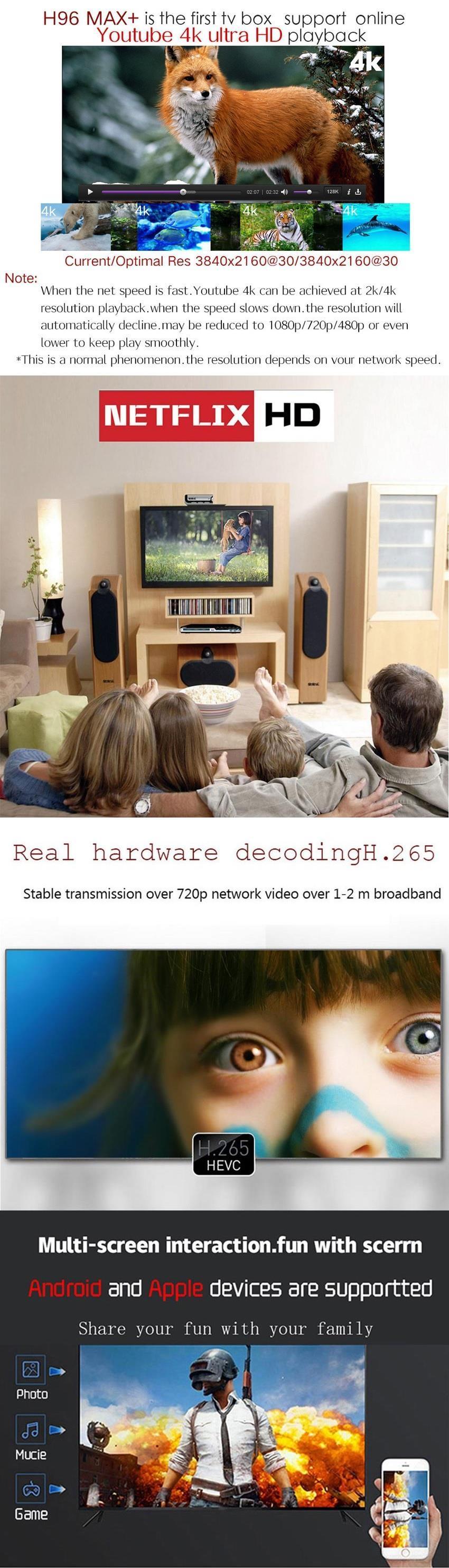 H96 MAX Plus Android 8 RK3328 Quad-Core 4+64GB TV Box / IPTV / 4K