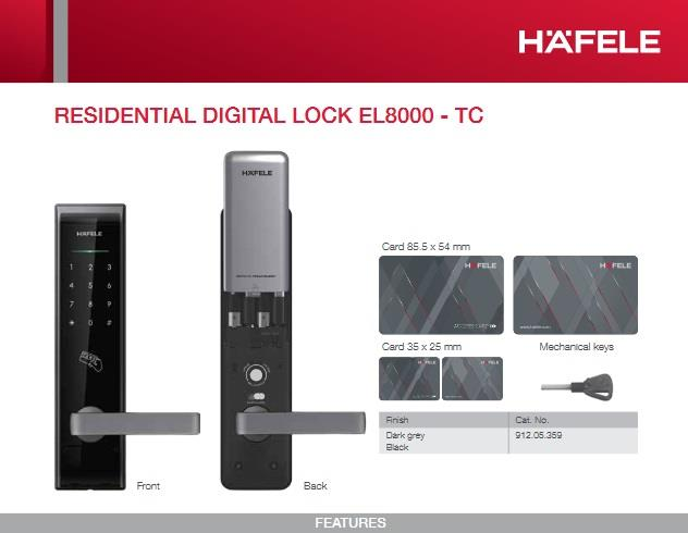 Hafele EL9000 Card Access Door Lock with Keys