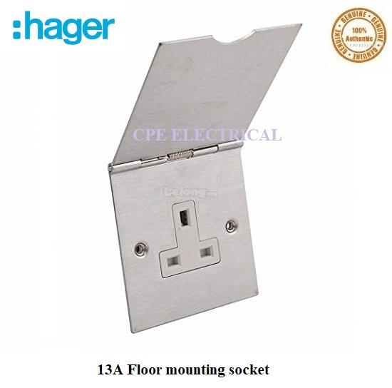 HAGER 13A 1 Gang Steel Floor mounting socket