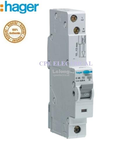 Hager 25A 1P+N 10mA Type C Electronic RCBO