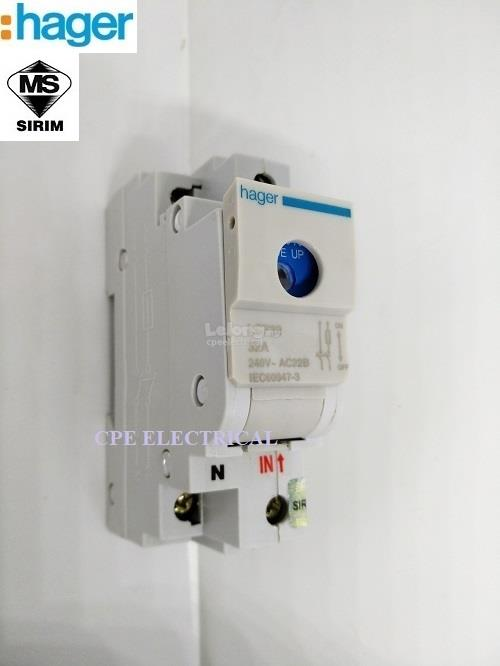 HAGER 32A 1P + NEUTRAL Switch Fuse Main Switch on