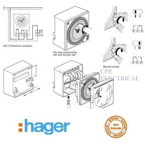 hager eh711 24hrs analog time timer switch (100% authentic product)