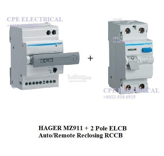 HAGER MZ911 Auto / Remote Reclosing + 2 POLES RCCB ELCB. ‹ ›