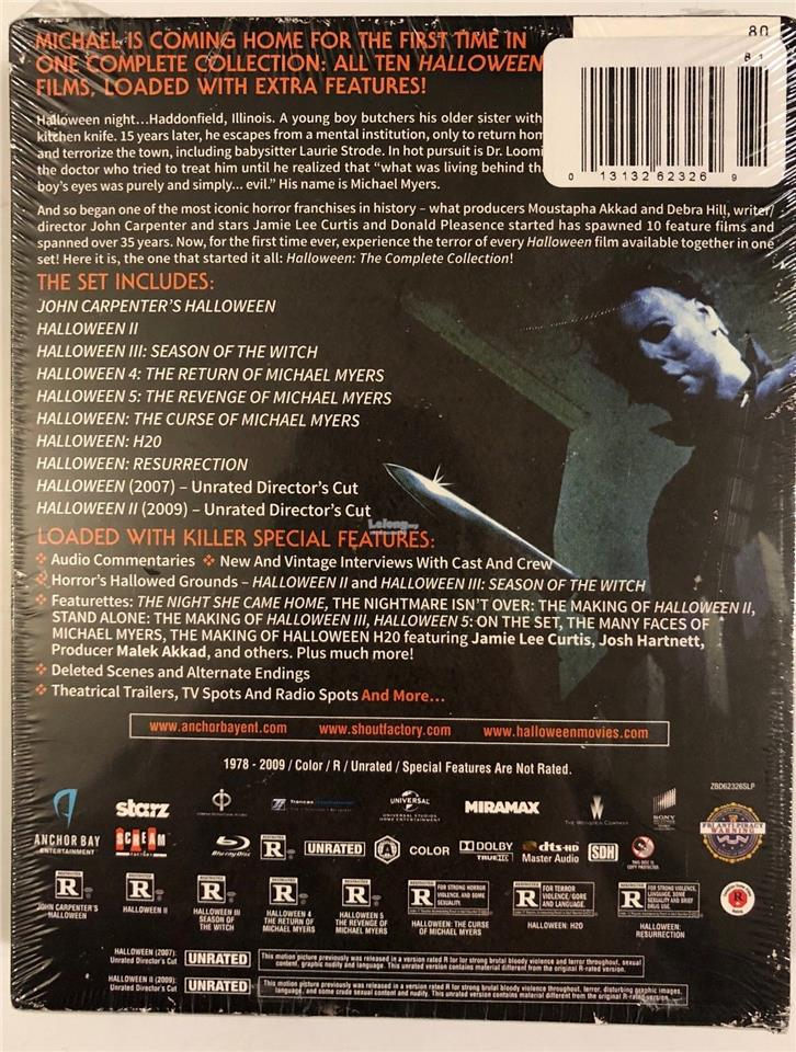 Halloween 5 Blu Ray.New Halloween The Complete Collection Blu Ray 10 Disc Set Slipcover
