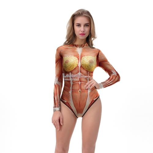 Halloween Cosplay Costume Muscles Printed Lady Long Sleeve Swim suit