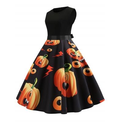 6a665ce888411 Halloween Pumpkin Print Pin Up Dress (BLACK)