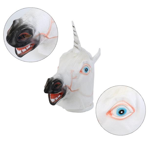 Halloween White Unicorn Horse Head Mask Latex for Cosplay Party