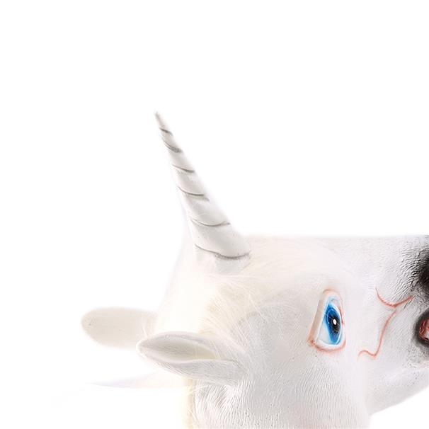Halloween White Unicorn Horse Head Mask Latex for a Crazy Cosplay Part