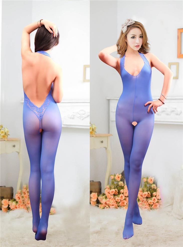 New Halter Lace Back One Pcs Stockings (Blue)