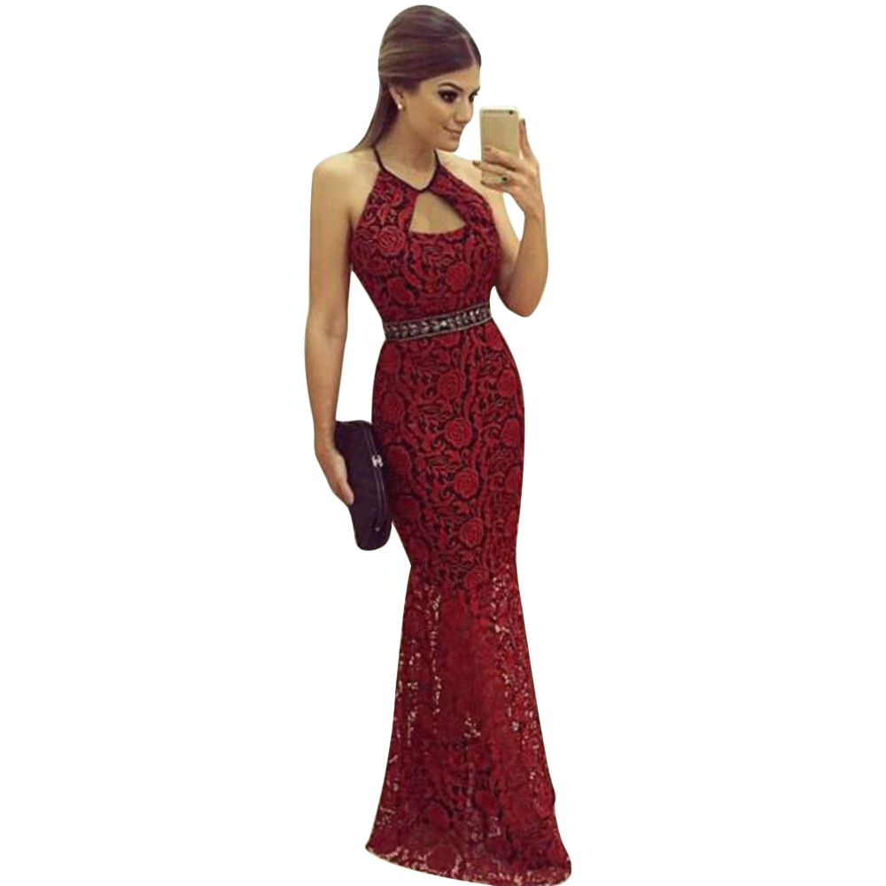 Halter Neck Backless Lace Maxi Fishtail Dress For Women Red Size S M