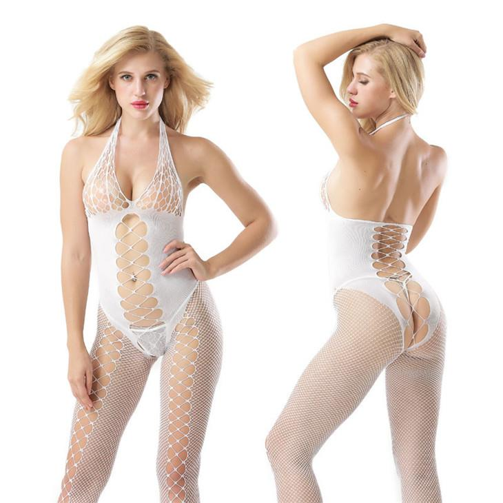 New~Halter Open Type Sexy Fishnet Body Stocking (White)