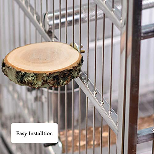 Hamiledyi Perch Platform for bird cage,Natural Round Wooden stand Platform bir