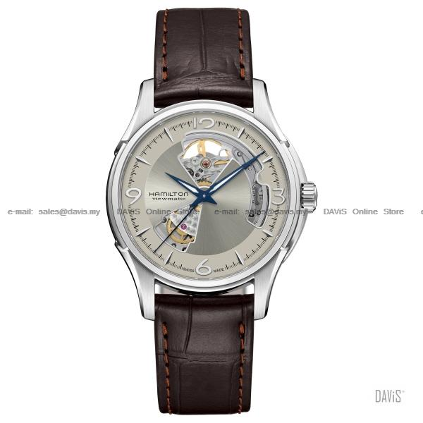 HAMILTON H32565521 Men's Jazzmaster Open Heart Auto leather brown