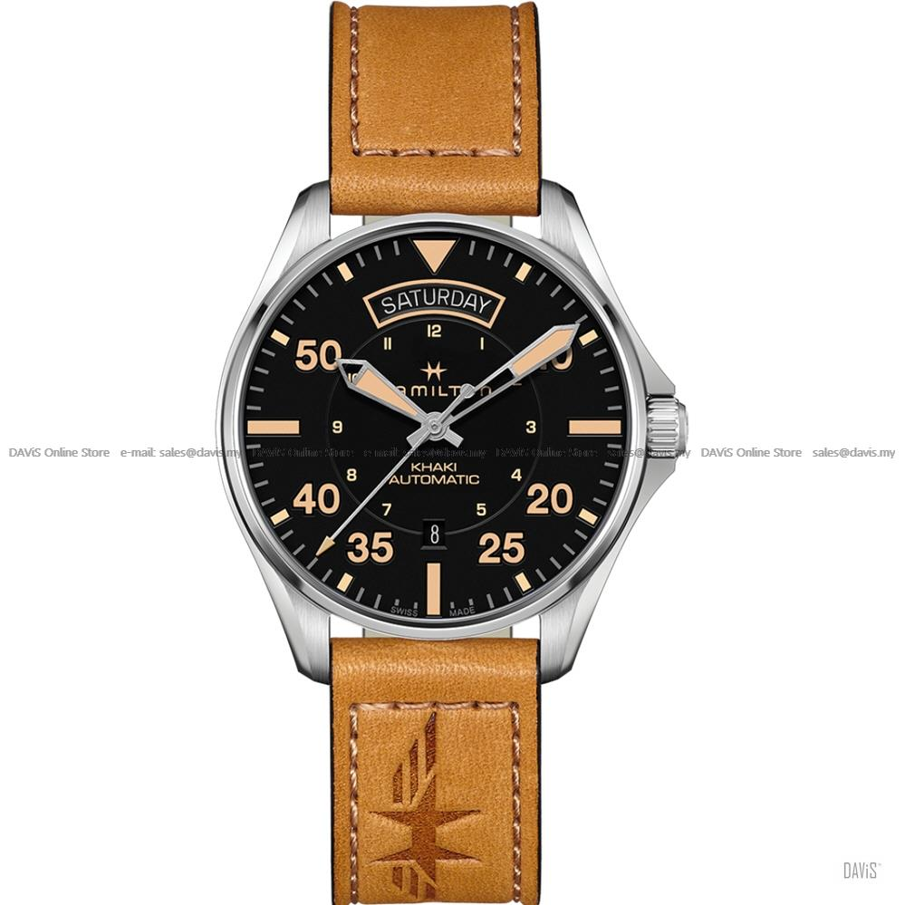 HAMILTON H64645531 Men's Khaki Aviation Day Date Auto Leather Brown