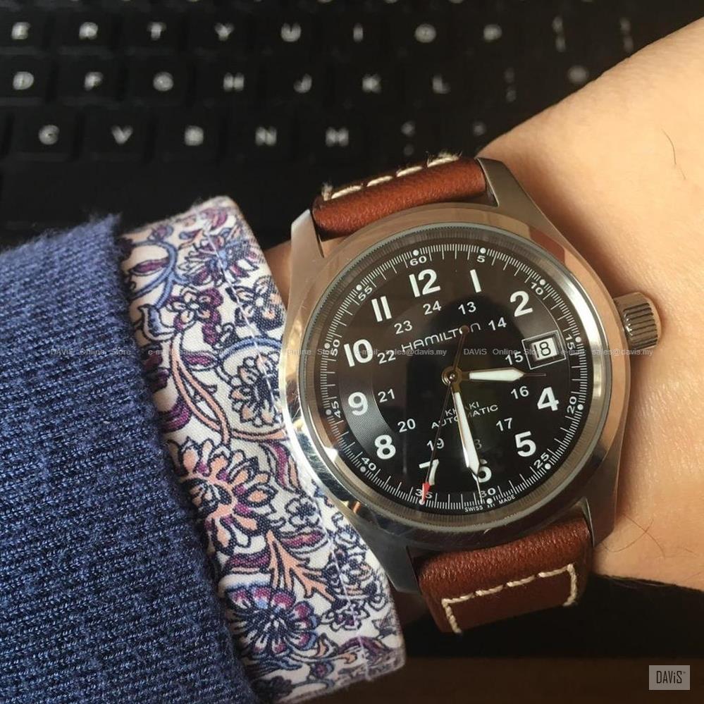 aa2497d69 HAMILTON H70455533 Men's Khaki Field Auto Date Leather Black Brown