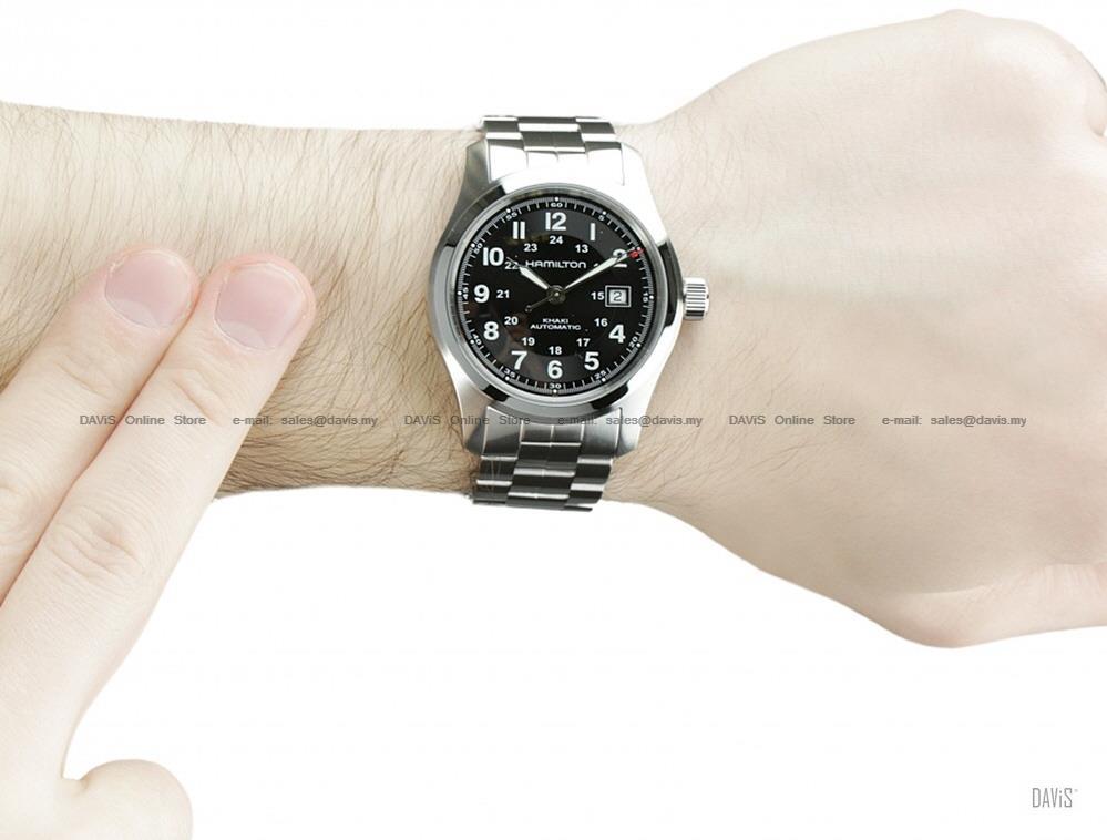 6650e36b1 HAMILTON H70515137 Men's Khaki Field Auto 42mm SS bracelet black