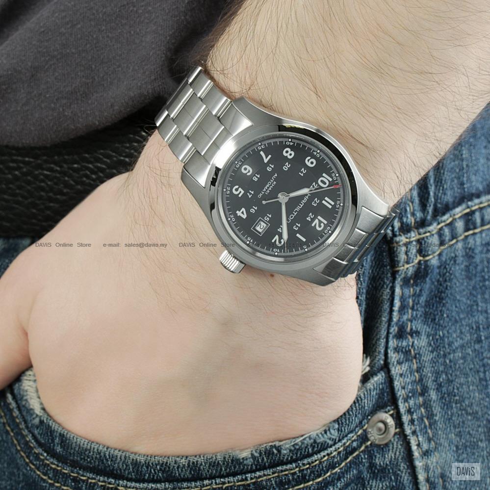 Hamilton H70515137 Men S Khaki Field Auto 42mm Ss Bracelet Black