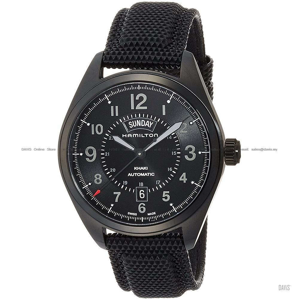 Hamilton H70695735 Men Khaki Field Day Date Auto Nylon Leather Black