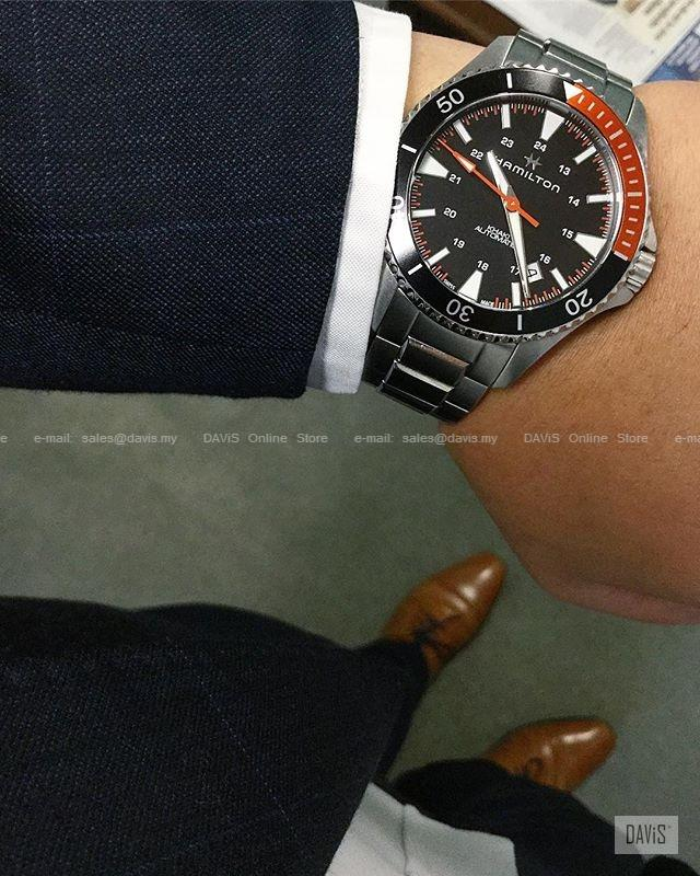 Hamilton H82305131 Men S Khaki Navy Scuba Auto Ss Bracelet Black