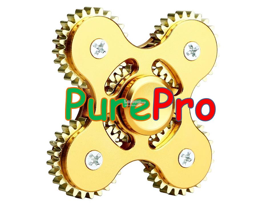 Hand Fidget Spinner 5 Gear Gold Stainless Steel Ceramic Bearing Cube