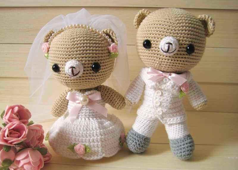 Hand Made Teddy Bear Wedding Doll Car Code Wd003